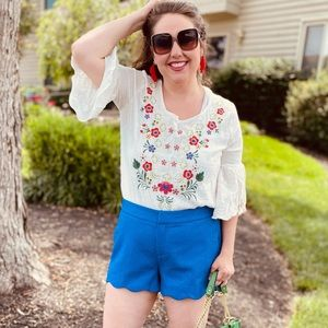 Ivory Embroidered Boho style Top Blouse by Gigio
